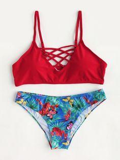Butterfly Print Lattice Front Mix & Match Bikini Set
