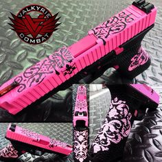 """Valkyrie Package V22 Cerakoted in our """"Fancy"""" pattern using Prison Pink and Graphite Black."""