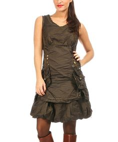 Another great find on #zulily! Brown Cargo Sleeveless Dress #zulilyfinds