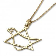 14K Gold Star of David - Dove Pendant with Diamond Eye | Jewish Jewelry