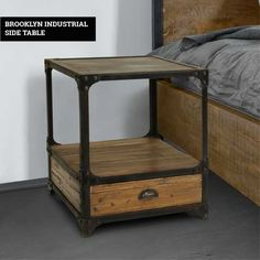 The Brooklyn Industrial Side Table effortlessly blends rustic styles with classic industrial designs, creating a practical and eye-catching piece of furniture. It features an quality steel table top and supporting frame which is complemented by a reclaimed pine lower shelf and storage drawer. Pine Shelves, Low Shelves, Shelf, Leather Furniture, Wood Furniture, Industrial Console Tables, Furniture Care, Steel Table, Drawer Handles