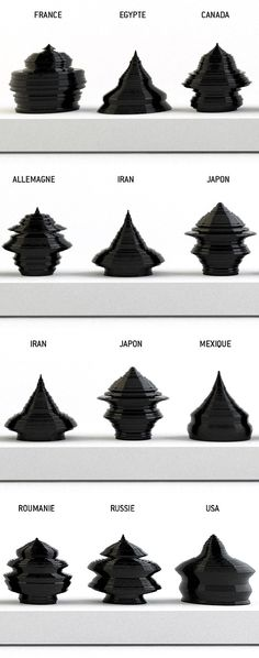 """Fascinating work by Mathieu Lehanneur... The age-pyramids of the populations of five countries; France, USA , Japan, Egypt, and Russia, are molded in 3D, """"opening a perspective designed to freak us all out."""" Mathieu Lehanneur is using population data to determine the shape of his ceramic Age Of The World containers, the resulting contoured shapes then communicate the state of living in a given country..."""