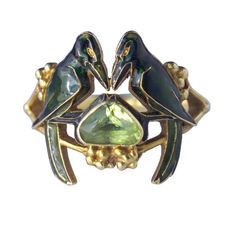 Crows! RENE LALIQUE -  Rare Betrothal Art Nouveau Ring c. 1902-1904.