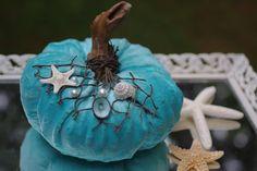 Aqua Blue Seashell and Starfish Coastal Pumpkin