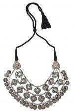 Tribebyamrapali-Silver Oxidised Textured Leafy Charm Drop Interlinked Necklace