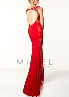 Red Scoop Backless Cap Sleeve Sheath Formal Dresses