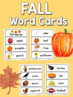 Free Printable set of 15 Fall Picture-Word Cards for picture dictionaries or word wall. Set includes apple, pumpkin, gourd, rake, tree, leaf, pie, and more.