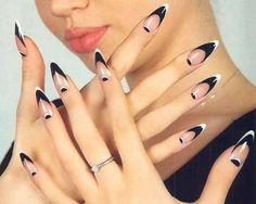 Black and white stiletoes tips...
