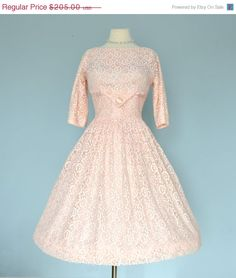 Vintage 1950s Wedding Dress...Pale Pink and White Lace by deomas, $174.25