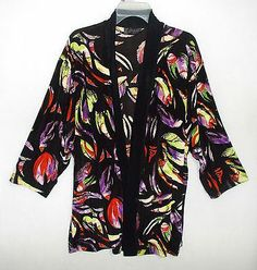Travelers knit jacket 3x 26w 4x Plus size black leaves leaf print stretch fabric