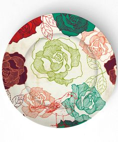 Roses 10 inch Melamine Plate by TheMadPlatters on Etsy. $18.00 USD, via Etsy.