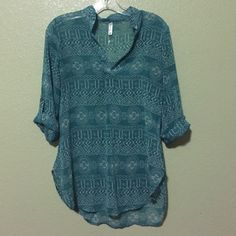 Aztec print long sleeve tunic Aqua and white small Aztec print tunic. I love it, but too loose on me. In perfect condition, worn once. Tops Blouses