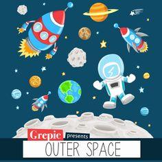 """Weltraum-Clipart: """"OUTER SPACE"""" Clip Art Pack mit Astronaut, Raumschiffe, Planeten, Raketen, Sterne für Scrapbooking, Karten machen, lädt"""