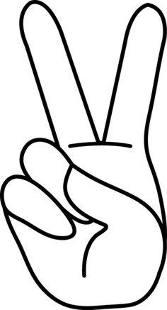 Peace Hand Sign Line Art