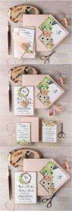 Rustic blush pink botanical wedding invitations
