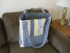 Large tote bag from 12 jelly roll strips (MSQC)
