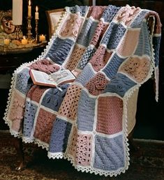 """Scripture Crochet Afghan ePattern - What a wonderful way to learn new crochet pattern stitches! From Crosses to Palm Leaves and Trinity, the 24 blocks in this crochet afghan each feature a pattern stitch relating to Scripture. This sampler afghan is a treasure for students of the Holy Bible. The afghan is crocheted in 7"""" squares using worsted weight yarn and a size H (5.00 mm) hook. The approximate finished size is 50"""" x 66"""". This pattern is from original Leisure Arts Leaflet #2770 - ..."""