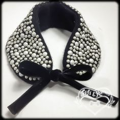 pearls on 100% recycled cashmere pet collar with double velvet ribbon tie: