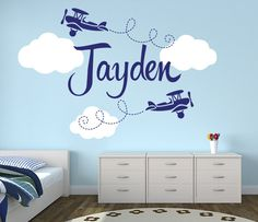 Airplanes Name Nursery Wall Decal - Custom Airplane Name Wall Decor for Boy - By LovelyDecals - Buy it now!!