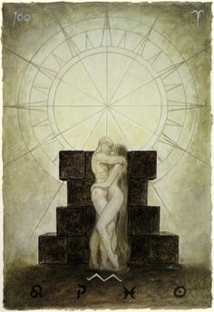 Luis Royo - The Labyrinth Tarot - Major Arcana: The Sun 19 / Sun Communication, sharing, happiness, joy, positive energy, creativity, growth. Accomplishment in love, new friendship, feeling enlightened, positive accomplishment, believing in yourself, self confidence, being the center of attention, shining under the spotlight.