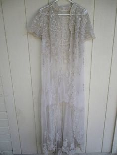 Vintage Net Silver Thread Beads Beaded Maxi Robe Jacket Gown Wedding Embroidered Lace Peignoir