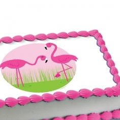 Pink Flamingos Edible Image Cake Decoration
