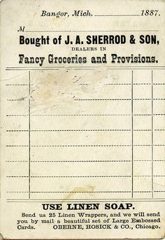 1900 store receipts - Google Search
