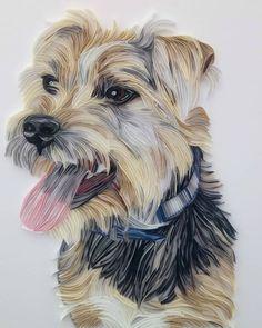 On-Edge Paper Art Pet Portraits by Rebekah Jenkins - Artist Interview #paperart #craft #quilling #illustration #petportrait