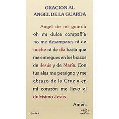 Oracion al Angel de la Guarda (Guardian Angels) -  Spanish Prayer Card