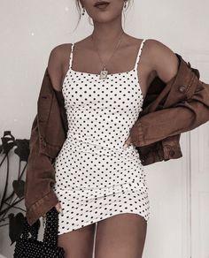 poka dot dress spring fashion trendy fashion fashion inspo brown jacket mini skirt white mini skirt trendy outfit - Mini Skirts - Ideas of Mini Skirts Cute Casual Outfits, Casual Dresses, Summer Outfits, Girly Outfits, Mini Skirt Outfits, Easy Outfits, Paris Outfits, Classic Outfits, White Outfits