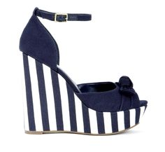 tall, summer navy and white striped wedges