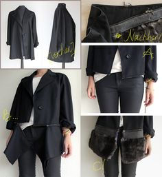 refashion old coat into Burberry zipper coat