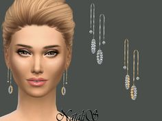 The Sims Resource: Crystal Pave Drop Earrings by NataliS • Sims 4 Downloads