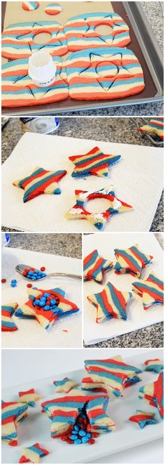 Make patriotic Piñata Cookies! A variation make your own sugar cookie dough divide into thirds & color as in original recipe. Cut star shapes prior to baking and in of cookie dough cut out center hole; bake and assemble as per original recipe Holiday Treats, Holiday Parties, Holiday Fun, Holiday Recipes, Sugar Cookies Recipe, Cookie Recipes, Pinata Cookies, Star Pinata, Blue Food