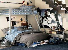 jugendzimmer einrichtungsideen etagenbett grau blau wanddeko