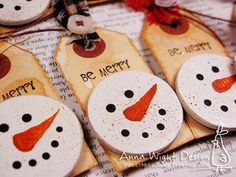 """I love snowmen, if you can't tell... *grin* I made these snowman face magnets, using this project on making reusable gift tags, as inspiration. That project was also the inspiration for the lapel pins I made. I loved her idea but I just borrowed her """"face"""" and made something completely different. Oddly enough, when I was in college I used to make snowman face lapel pins out of clay that look just like these magnet faces. Some had hats, some had scarves, some had ear muffs, and some were just…"""
