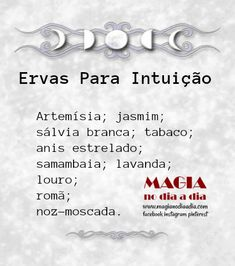 Magia no Dia a Dia: Ervas Para Intuição Wiccan, Witchcraft, Mystical World, A Kind Of Magic, Pagan Art, Baby Witch, Witch Spell, Triple Goddess, Mystique