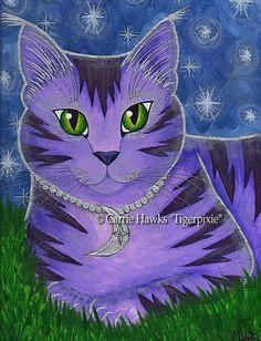 Cat Moon Art Stars Astra Celestial Fantasy Cat Art by tigerpixie