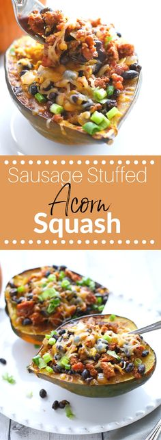Easy and healthy Sausage Stuffed Acorn Squash is like fall in a bowl.  Acorn squash stuffed to the brim with savory sausage, black beans, and onions then topped with cheese.  (gluten free) via @lkkelly98