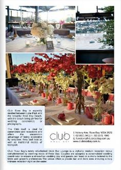 Situated on the bay with stunning water views, Club Rose Bay can host your special occasion from a cosy gathering to the most elaborate wedding or event. Rose Bay, Bar Lounge, Style Guides, Wedding Styles, Deck, Club, Table Decorations, Spring, Home Decor