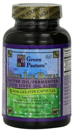 Blue Ice Royal Butter Oil / Fermented Cod Liver Oil Blend - 120 Capsules by Green Pastures, http://www.amazon.com/dp/B002M06SMU/ref=cm_sw_r_pi_dp_rp5osb1DJV4JR