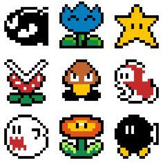 Hama Beads Mario, Perler Bead Mario, Perler Beads, Hama Beads Minecraft, Minecraft Pixel Art, Minecraft Buildings, Hama Beads Patterns, Beading Patterns, Bracelet Patterns