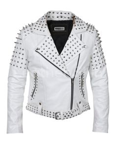 Women White Leather Jacket with Cone Tree Spikes. Chaqueta De Cuero ... 15a8fe6c10a0