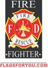 applique Fire Fighter Garden Flag - 2 left