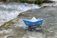 Ceramic sail boat, table decoration, summer decoration, blue sail boat, waves stencil by MoxiCraftGR on Etsy Wave Stencil, Boat Table, Wave Design, Decoration Table, Starfish, Chalk Paint, Stencils, Sailing, How To Apply