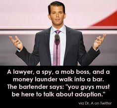 "RL A lawyer, a spy, a mob boss and a money launderer walk into a bar. The bartender says: ""you guys must be here to talk about adoption. Adoption, Donald Trump Jr, Republican Party, Humor, At Least, Shit Happens, Sayings, Bartender Quotes, Bartender Funny"