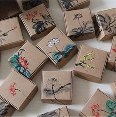 Kraft Paper Box Jewelry Gift Handmade Soap Floral Paper Packaging Box-Chocolate Gift Packaging Candy Box-wedding favor box on Etsy, Paper Packaging, Packaging Ideas, Brand Packaging, Gift Box Packaging, Packaging For Jewelry, Design Packaging, Pretty Packaging, Creative Gift Packaging, Candle Packaging