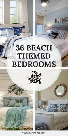 coastal bedrooms Beach Themed Bedrooms Ideas: Beach house bedrooms from our amazing beach house tours, as well as beach bedroom decor inspiration with an assortment of Beach Bedroom Decor, Beach House Bedroom, Bedroom Themes, Home Bedroom, Modern Bedroom, Bedroom Ideas, Bedroom Designs, Beach Theme Bedding, Beach House Interiors