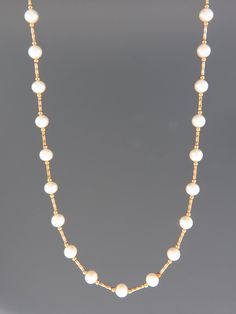 6mm Pearl Necklace with twist beads