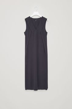 COS image 2 of V-neck pleat dress in Navy